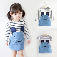 Streifen Mädchen Kleid Baby Sommer Tragen Kurzarm Kinderrock Patchwork Denim Elegante Mode Kleidung Neue Muster Heißer Verkauf 12 9AB M2