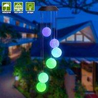 El mejor control Solar Smart Light Control Wave Ball Wind Shime Style Corridor Decoración Colgante Lámpara Beads Black Solar Panel Luces de colores