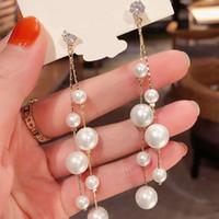 Boucles d'oreilles perles artificielles strass grosse petite perle argent aiguille boucles boucles d'oreilles femmes mariées bijoux oreillette cuivre mode 5cy g2