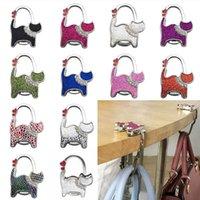 Ganchos trilhos gato portátil handbag titular dobrável bolsa de mesa borda de mesa pendurado mulheres handbags keyring saco organizador