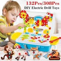 132 / Kids Broca Elétrica Brinquedos DIY Educacional Puzzle Brinquedos Broca Infantil Fenda De Fenda DIY Ferramentas Montadas Modelo Kit LJ201009