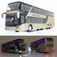 Modelo de autobús de la aleación de la aleación de la aleación de la aleación 1:32, el autobús de la alta imitación doble, el vehículo del juguete flash x0102