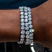 Redondo cuadrado para hombre Pulsera Tenis Pulsera Zirconia Triple Lock Hiphop Jewelry Cubic Lujo Cristal CZ Hombres Moda Charm Pulseras Joyería