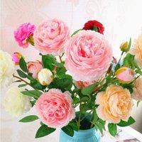 Dekorative Blumen Kränze gehobene westliche Pfingstrose Rose Blume Blumenstrauß 3 Köpfe 65 cm lang für Wohnzimmer Ornament Hochzeit DIY Dekor