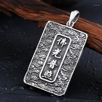 Amuleto de Aço Inoxidável Buda Buddha Moda Homens Pingente Religião Estilo Chinês Avalokitesvara Jóias1