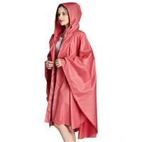 Yuding 1 PC Seis colores lisos de buena calidad Hombres impermeables adultos con capucha Jas Cape Mujeres Cool Rain Dress Poncho con bolso