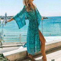 المرأة البلوزات القمصان 2021 البوهيمي مطبوعة الصيف شاطئ ارتداء ملابس طويلة كيمونو سترة زائد حجم القطن تونك النساء قمم و بلوزة