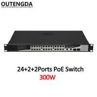 24 10/100 Мбит / с POE Network Shuta Standard 802.3AF / на коммутаторе с 2 * 1000 Мбит / с восходящей линии связи и 2 Gigabit SFP для IP-камеры, беспроводной AP