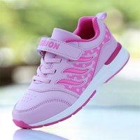 Hobibear Novas Crianças Meninas Running Sapata Rosa Roxo Menina Sneakers Kids Hook Loop Jogging Sapatos Não-Slip Sport Trainers Meninas LJ201202
