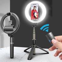 4 في 1 بلوتوث اللاسلكية selfie عصا مع selfie الصمام الدائري ضوء البسيطة ترايبود المحمولة التمديد عن بعد لفون الروبوت ios
