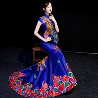 Этническая одежда синяя русалка вечернее платье элегантная роскошная вышивка Qipao китайский традиционный длинные платья Cheongsam Choongsam Китай платья