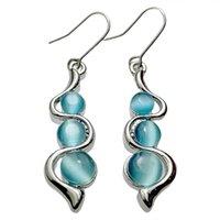 النساء منحنى بار eardrop مجوهرات سيدة الأزياء البطانة القطط الأزرق العين الأحجار الكريمة موجة أقراط البوهيمي نمط جديد 2 8FS J2