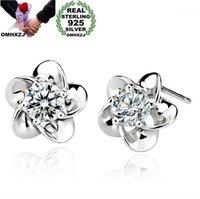 Stud omh Mode bijoux de mode Crystal Cinq feuilles Fleurs 925 Boucles d'oreilles en argent sterling YS021