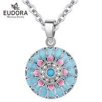 Eudora Blue Pink Lotus Harmony Naszyjnik Ball Muzyka Meksykańska Piłka Dla Baby Mom Messyn Biżuteria Duchowy Joga Elegancki Wisiorek Y1130