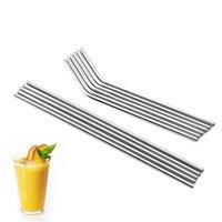 Nuovo durevole acciaio inox dritto Bent Bere Bere Curve di paglia Metallo Cannucce Bar Family Cucina per la birra Frutta Succo Drink Party