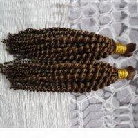 200 g de trenzado humano pelo a granel sin apego Mongolian Afro Kinky Curly Hair Extension para trenzas 2pc ganchillo trenzas 4b trenzado pelo a granel