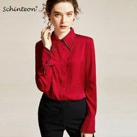 2020 Schinteon Spring Women Blusa de seda real Diamante Patchwork Mangas largas Turn-Down Colllar Office Lady Solid Shirt 1