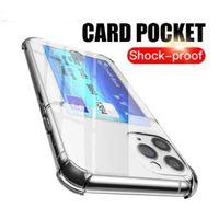 카드 홀더 투명 투명 TPU 젤 휴대 전화 케이스 Shockproof Wallet 케이스 아이폰 12 미니 11 Pro x XS Max XR 7 8 Plus에 대 한 Antiskid 커버