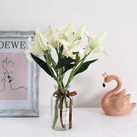 결혼식 크리스마스 파티 장식 JH125를 들어 1PCS 3 색 PU 향수 백합 인공 꽃 가짜 식물