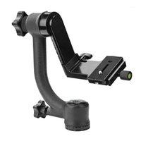 Panoramic 360 graus vertical Pro Gimbal Tripé Cabeça 1/4 polegadas parafuso teleobjetiva lente placa de liberação rápida para dslr camera1