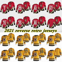2021 Reverse Retro Jerseys 37 Bergeron 88 David Pastrnak 4 Bobby Orr 29 Fleury 75 Reaves 71 Karlsson 61 Mark Hockey Jersey