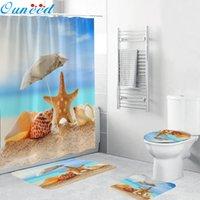 Ouneed 샤워 커튼 세트 4pcs 비 슬립 비치 스타일 패턴 화장실 폴리 에스터 커버 매트 세트 불가사리 욕실 샤워 커튼 새로운 T200624