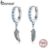 BAMOER BOHO ESTILO 925 Joyería de plata esterlina Turquesa Color Piedra Pendientes Pendientes para mujeres Pendiente con encanto SCE898 Y1130