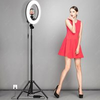 Pink Selfie Ring Light Photography LED Ringlight With Stand Stepless Dimming for T Photo Video Makeup Photographic Lighting