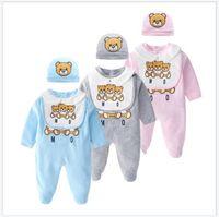 2021 Novos 3pcs conjuntos para macacão bebê toddler manga longa jumpsuits recém-nascidos cartoon urso onesies infantil algodão romper + bib + chapéus roupas de bebê