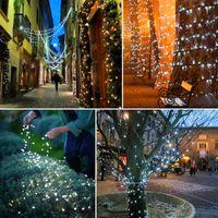 Hot Selling Brand New White 100 LED Solar String Fairy Light Christmas Party Vattentät Semesterbelysningssträngar Högkvalitativt material