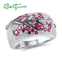 Santuzza Silver Ring 여성을위한 정품 925 스털링 실버 핑크 벚꽃 큐빅 지르코니아 숙녀 섬세 한 패션 쥬얼리 Y1124