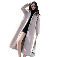 Женская шерсть смешивает осень зима женские повседневные элегантный стиль одиночная кнопка шерстяные дамы женские моды пальто длинный пальто LU58411