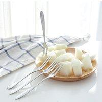 Edelstahl Dessert Kuchen Obstgabel Haushalt Geschirr Dessert Gabeln Spiegel Design Verdicken Hotel Kitchen Glatte Griff Gabeln EED 3388