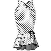 Yeni Moda Siyah Beyaz Polka Noktalar Trompet Mermaid Kısa Etekler Kadınlar Için 2019 Kılıf Ruffles Kısa Elbise Ile Düğmeler FS5005