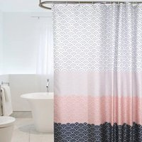 Moderna cortina de chuveiro geométrico impermeável poliéster tecido banheiro cortina para banheiro decorar com ganchos de plástico yyb4872