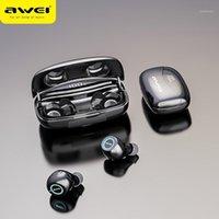 헤드폰 이어폰 AWEI T19 TWS 5.0 2500mAh LED 디스플레이 슈퍼베이스 스테레오 이어 버드 소음 취소 방수 IPX5 듀얼 마이크와 함께
