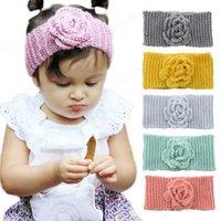 Inverno caldo baby turbante a maglia lana fasce di lana moda all'uncinetto fiore copricapo ragazze accessori per capelli neonato floreale ascendente floreale