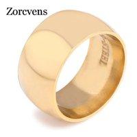 Zorcvens mode grosse largeur bagues en acier inoxydable doigt argent couleur argent noir couleur couleur hommes bijoux
