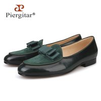 Piergitar Five colors Genuine Leather and Suede stitching with Bow-tie Handmade Men's dress shoes luxurious Men's loafers 201212