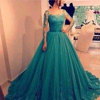 2021 vestido de baile tule vestidos de baile de mangas compridas lace applique saudita arábia formal vestido de noite vestido