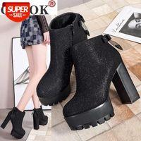 Botas Lolita Botas de couro sapatos de cristal Luxury Designer Bootee mulher 2020 Martins para mulheres tamanca plataforma rodada dedo zíper # LA7V