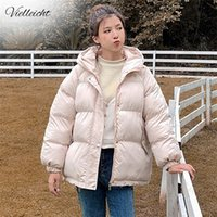 Vielleicht Женщины с капюшоном зима пуховик пальто пальто плюс размер 2xL короткие сгущает теплое хлопок мягкое зимнее пальто женской одежды 201217
