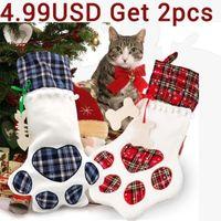 Weihnachtsstrümpfe Geschenk Tasche Dekor für Neujahr 2020 Plaid Weihnachten Geschenk Taschen Pet Stocking Socken Weihnachtsbaum Hängen Anhänger1