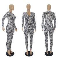Femmes Jumpsuits Rompes Casual Panopard Print Manches Longues Col V-Col Vêtements de nuit PlaySuit BodySuit Dames Pajama Oneiesies Mode E122812