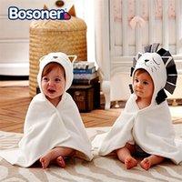 Toalla de baño de bebé 100% algodón toalla con capucha toallas de recién nacidos de una pieza Lion Sólido Niños Toalla con capucha Cosas infantiles Y201009
