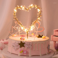 1 PC Heart Shape LED Pearl Cake Toppers Cake Decorating Tool...