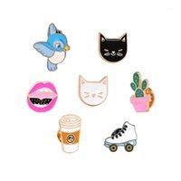 Pins, Broşlar Toptan-9 Stil Moda Karikatür Kuş Sevimli Kedi Kahve Saksı Bitkileri Ayakkabı Dudaklar Emaye Broş Pins Denim Ceket Şapka Çanta Dekor