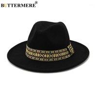 와이드 브림 모자 버터 메리 울 FEDORA 파나마 모자 2021 남성 여성 솜브레로 블랙 재즈 트리 베이 모자 영국 스타일 Porkpie Hat1