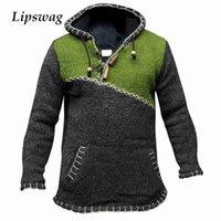 Vintage camisola com capuz de malha para homens inverno quente espessa manga longa pulôver jumper mola masculino plus size patchwork hoodie tops