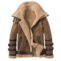 Sani Новые двойные ошейники 2020 толстые натуральные кожи из овчины меховой куртку натуральный шерсть шерсть зимние мужчины теплые меховые одежда LJ201217
